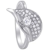 Sterling Silver Round Clear Cubic Zirconia Leaf Design Ring #SORS067