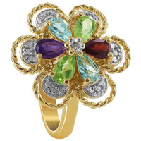Gold over Sterling Silver Amethyst Garnet Aquamarine and Peridot Gemstone Floral Vermeil Ring #VMR011-7