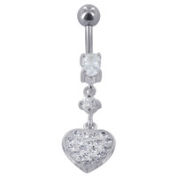 925 Sterling Silver with Stainless Steel Studded Clear Cubic Zirconia 10mm Heart Barbell