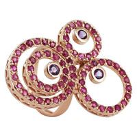 925 Sterling Silver Amethyst and Ruby Swirled Design Ring Size 7