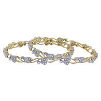 Gold Plated Cubic Zirconia Bangle Bracelets Set of 2  #JB135