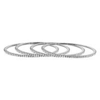 Silver Tone Cubic Zirconia Fancy Bollywood Indian Bangle Bracelets set of 4
