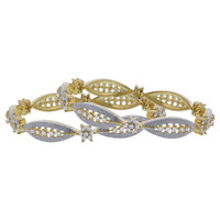 Gold Plated Cubic Zirconia Flower Bangle Bracelets Set of 2 #JB137