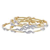 Gold Plated Cubic Zirconia Bangle Bracelets Set of 4 #JB141