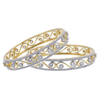 Gold Plated Cubic Zirconia Swirl Design Bangle Bracelets Set of 2 #JB142