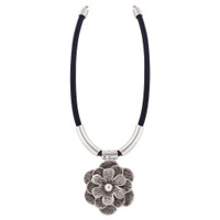 Flower Zinc Necklace 18 to 21.5 Inch Adjustable with Chain
