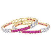 Gold Plated Synthetic Ruby with Cubic Zirconia Bangle Bracelets Set of 2 #JB157