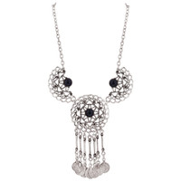 Zinc Imitation Black Onyx Floral Design and Coin Style Necklace 20.5 Inch