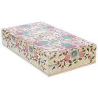 Rustic Hand Painted Floral Design Rectangle Jewelry Box