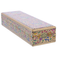 Gold Rustic Hand Painted Floral Design Narrow Rectangle Jewelry Box