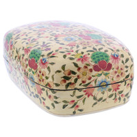"Rustic Hand Painted Floral Design 4"" x 6.75"" Dome Jewelry Box #GX004"