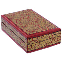 Red Rustic Hand Painted Floral Design Small Rectangle Jewelry Box