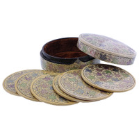 Rustic Hand Painted Foliage Design Circle Coaster Box Set #GX009