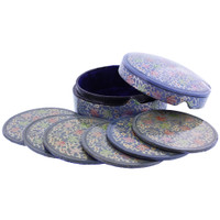 Blue Rustic Hand Painted Foliage Design Circle Coaster Box Set #GX010