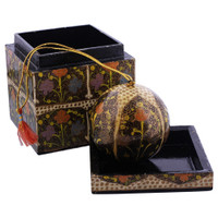 Black Rustic Hand Painted Foliage Design Ornament Cube Box Set #GX011