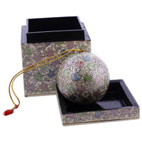 White Rustic Hand Painted Foliage Design Ornament Cube Box Set