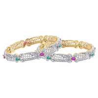 Gold Plated Simulated Ruby and Emerald with Cubic Zirconia Bollywood Indian Bangle Bracelets Set of 2