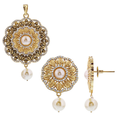 operandi in large gold loading earrings pearl kirat young by indian moda multi