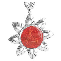 925 Sterling Silver Flower Reconstituted Coral Pendant