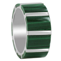 925 Sterling Silver Malachite with .925 Sterling Silver Strips Design Band