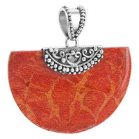 925 Sterling Silver Geo-metric Style Reconstituted Coral 1.2 x 1.8 inch Pendant #CLPS007