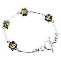 925 Sterling Silver Made with Swarovski Elements 8mm Vitrail Cube Crystal Handmade Bracelet 7.5 inch