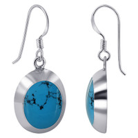 925 Sterling Silver 14mm x 17mm Oval with Silver Border Reconstituted Turquoise Gemstone French Wire Dangle Earrings