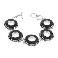 925 Sterling Silver 24mm Round Black Onyx Link Bracelet 6 7.5 inch Adjustable with Toggle Clasp