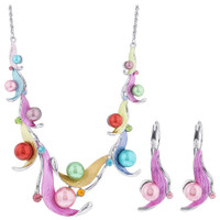 Multi Color Leaves Rhinestones Silver Tone Fashion Earrings 18 inch Rope Chain Necklace
