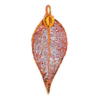 Iridescent Copper Plated 42 x 21mm Evergreen Real Leaf Pendant