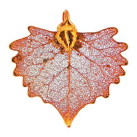 Iridescent Copper Plated 36 x 31mm Cottonwood Real Leaf Pendant #LGP017
