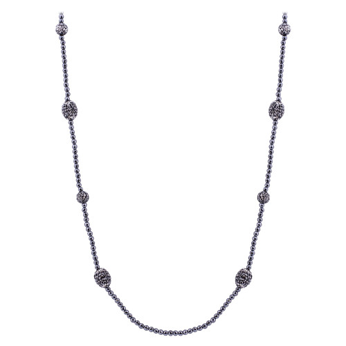 Black Simulated Stones Necklace 30 inch