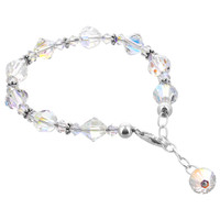 Sterling Silver Swarovski Elements 6mm Beads Bicon and Ball shape faceted Crystal Handmade Bracelet 8 inch Long #GB049