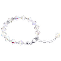925 Sterling Silver Swarovski Elements Beads and Bicon shape faceted Crystal Handmade Bracelet 8 inch Long