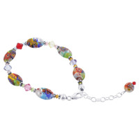 925 Sterling Silver Swarovski Elements 10mm by 14mm Millefiori Glass Beads and Crystal Handmade Bracelet 9 inch Long