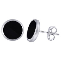 925 Sterling Silver 9mm Black Onyx Post Back Stud Earrings