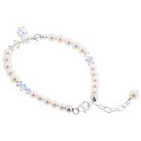 Sterling Silver Made with Swarovski Elements Imitation Pearl and Crystal Bracelet 9 inch