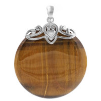 Sterling Silver Bail with Heart and Round Tiger Eye Gemstone Pendant