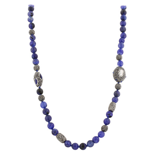 8mm Faceted Blue Glass Beads and Crystal Ball with Freshwater Nugget Pearl Accents 36 inch Long Strands Necklace