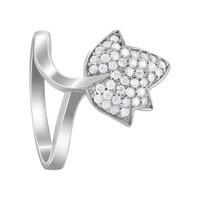 925 Sterling Silver Pave Set Cubic Zirconia Leaf Rings #R049