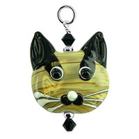 Sterling Silver Blown Glass and Crystal Cat Charm Pendant
