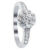 925 Sterling Silver 3mm Round Brilliant Cut Clear Cubic Zirconia Floral Design Ring