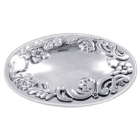 925 Sterling Silver Oval Polished Finish Floral Design Slide Pendant