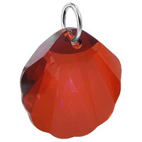 925 Sterling Silver Red Sea Shell like Crystal Charm Pendant Made with Swarovski Elements