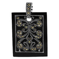 925 Sterling Silver Marcasite Design 1 x 1.3 inch Rectangle Pendant #RUPS027