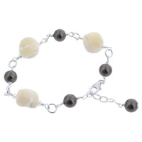 925 Sterling Silver Made with Swarovski Elements Faux Pearl Mother of Pearl Bracelet 7 to 8 inch