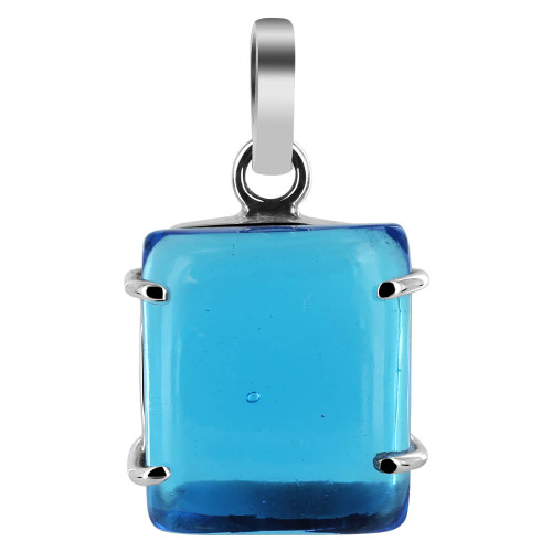 925 Sterling Silver 18mm x 20mm Rectangle Blue Glass Pendant