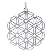 Sterling Silver 1.4 inch Scratched Snowflake Design Pendant #CBPS002