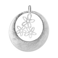 925 Plain Sterling Silver Scratched Circle with Dangling 17mm x 15mm Flowers Pendant #CBPS010