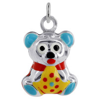 925 Sterling Silver Multi Enamel 11mm x 13mm Puffy Bear Pendant Charm
